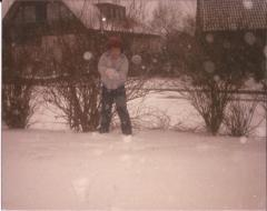 Me, Osterholz, Germany, c. 1988. Somebody's about to get a face full of schnee!