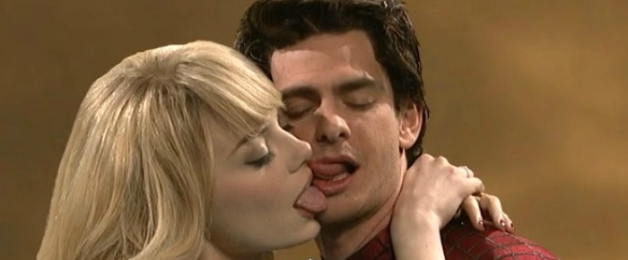 Andrew Garfield and Emma Stone Awkward Kiss on SNL