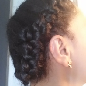 Sloppy knots, uneven parts. It's a get-my-hair-outta-my-face look.