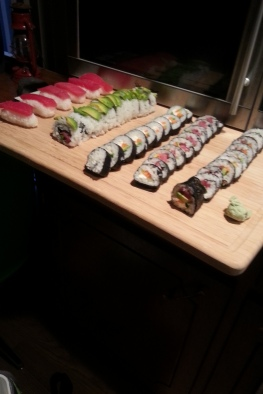 Not a bad spread for all of us first-time sushi masters.