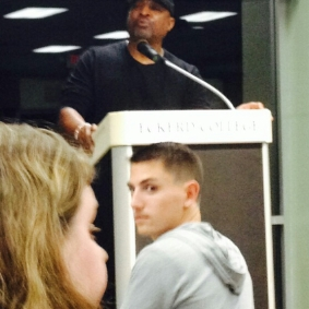 Chuck D addressing the Uhuru Solidarity Movement rep in the back of the room