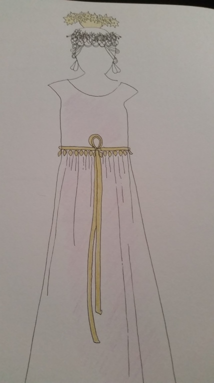 Notice the tyet loop to the front? Inanna was represented by a reed knot gate. A bent reed, then, was a symbol of her royal presence. Since I'm playing her priestess, Enheduanna, I wanted to include this detail.