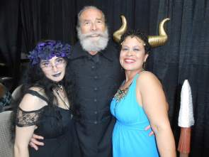 Poet Laureate Peter Hargitai sandwiched between Persephone and Inanna